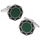 Green and Black Octagon Button Cufflinks by Jan Leslie