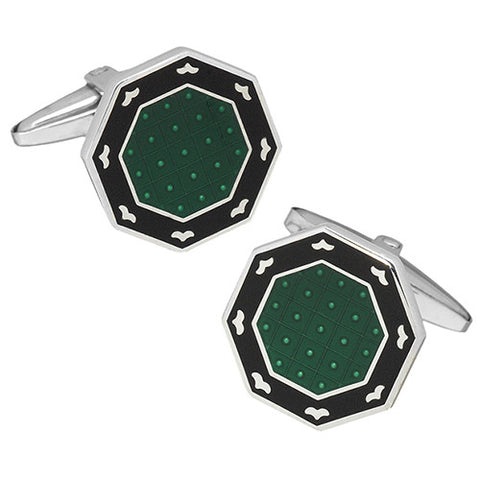 Colorful Black Border English Enamel Cufflinks