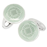 Green Rope Pattern English Enamel Cufflinks by Jan Leslie