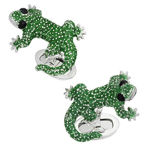 Green Gecko Cufflinks by Jan Leslie