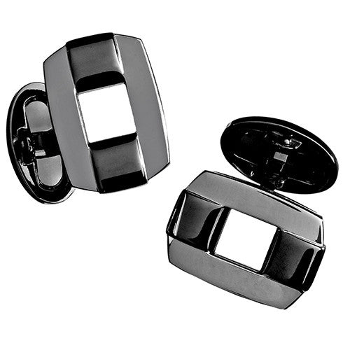 Black Onyx Rectangular Buckle Cufflinks by Jan Leslie