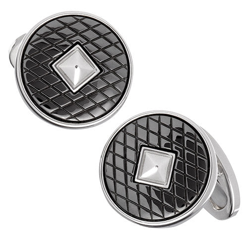 Gunmetal Criss-Cross Cufflinks - Jan Leslie Cufflinks and Accessories