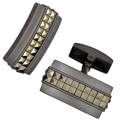 Gunmetal Cufflinks with 24K Gold Plated Marcasite Stripe by Jan Leslie