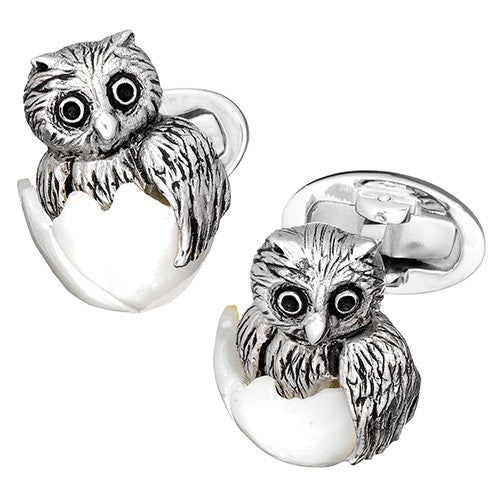 Hatching Baby Owl Cufflinks - Jan Leslie Cufflinks and Accessories