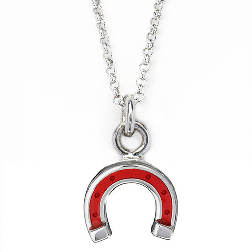 Red Lucky Horseshoe Charm Necklace by Jan Leslie