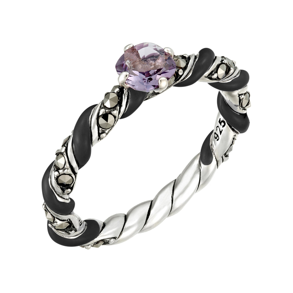 Reef Ribbon Ring with Amethyst Accent: The Stardust Pavé Jewelry Collection by Jan Leslie