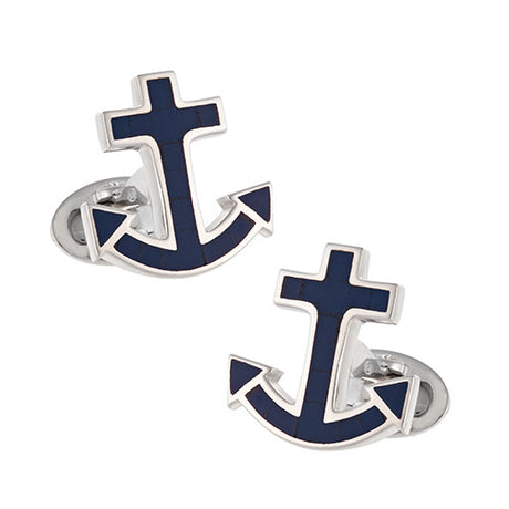 Jan Leslie Nautical Anchor Gemstone Cufflinks in Blue Lapis