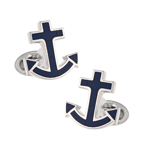 Nautical Anchor Gemstone Cufflinks