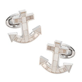 Jan Leslie Nautical Anchor Gemstone Cufflinks in Mother of Pearl
