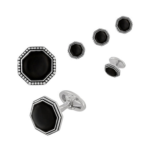 Art Deco Onyx and Marcasite Formal Set – Tuxedo Cufflinks and Studs