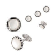 Jan Leslie Antiqued Octagon Tuxedo Cufflinks and Studs in Mother of Pearl