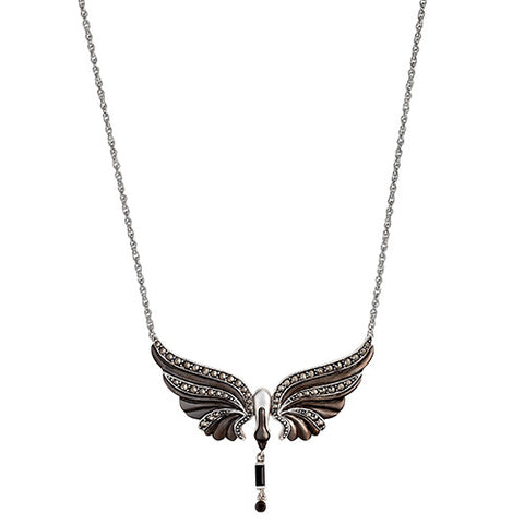Black Swan Pendant Necklace With Petite Dangle: The Stardust Pavé Jewelry Collection