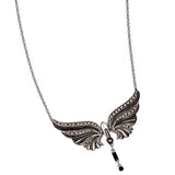Black Swan Pendant Necklace With Petite Dangle: The Stardust Pavé Jewelry Collection by Jan Leslie