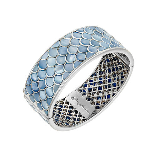 Koi Cascade Wide Bangle Bracelet in Blue Mother of Pearl: The Stardust Pavé Jewelry Collection by Jan Leslie