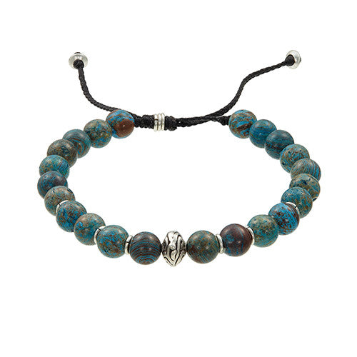 Jan Leslie Brass Bead Bracelet in Blue Agate