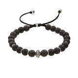 Jan Leslie Brass Bead Bracelet in Lava Stone