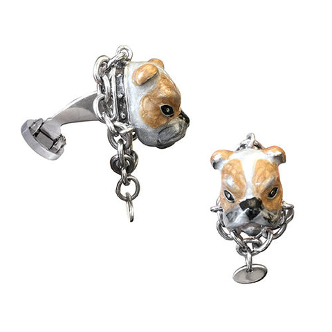 Bulldog Cufflinks With Chain Collar