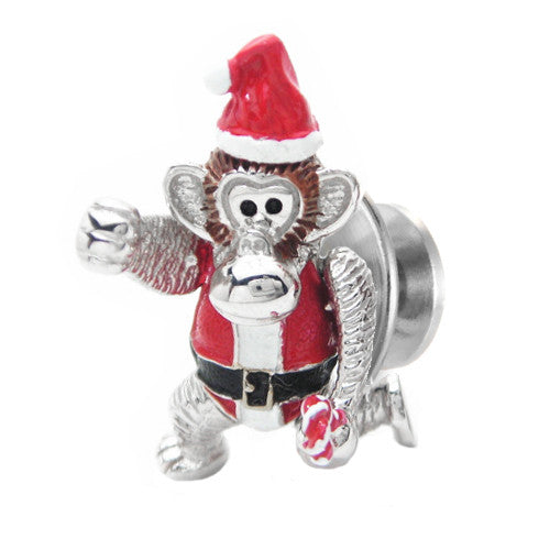 Santa Monkey Lapel Pin by Jan Leslie
