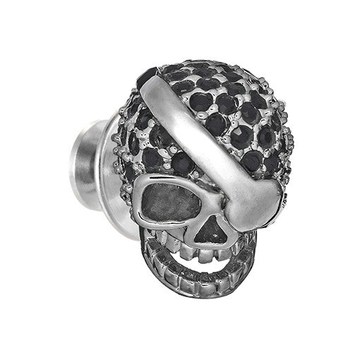 Crystal Pirate Skull Lapel Pin by Jan Leslie