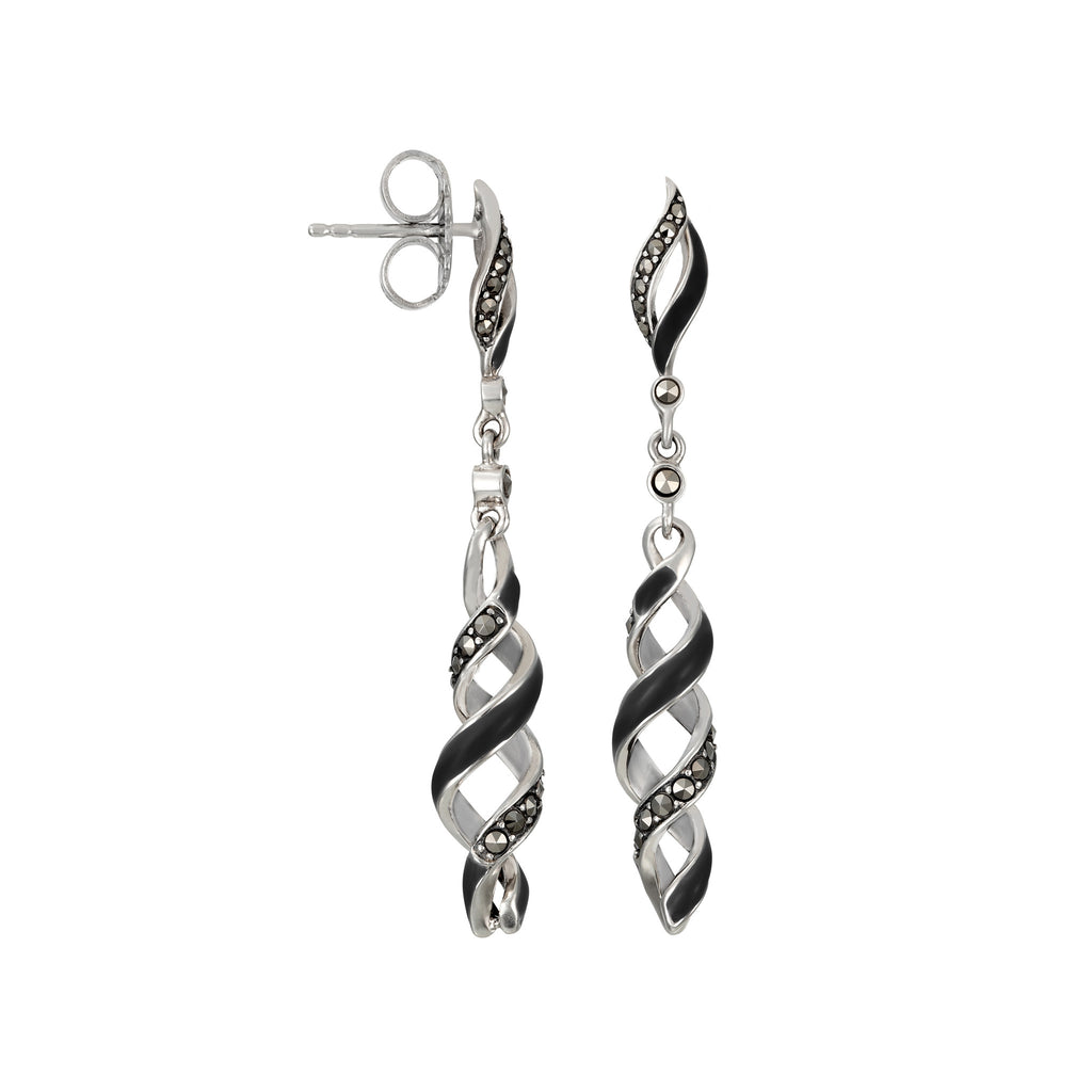 Reef Ribbon Twist Dangle Earrings: The Stardust Pavé Jewelry Collection by Jan Leslie