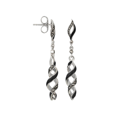 Reef Ribbon Twist Dangle Earrings: The Stardust Pavé Jewelry Collection