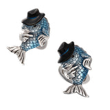 Jan Leslie Fish Cufflinks with Playful Hat