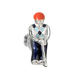 Swinging Golfer Lapel Pin with Argyle Sweater by Jan Leslie