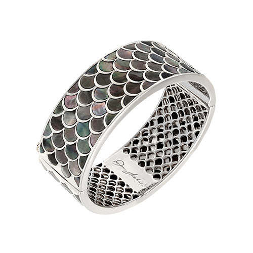 Koi Cascade Wide Bangle Bracelet in Grey Mother of Pearl: The Stardust Pavé Jewelry Collection by Jan Leslie