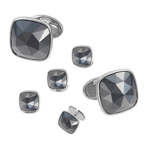 Jan Leslie Grey Hematite Faceted Tuxedo Cufflinks and Studs