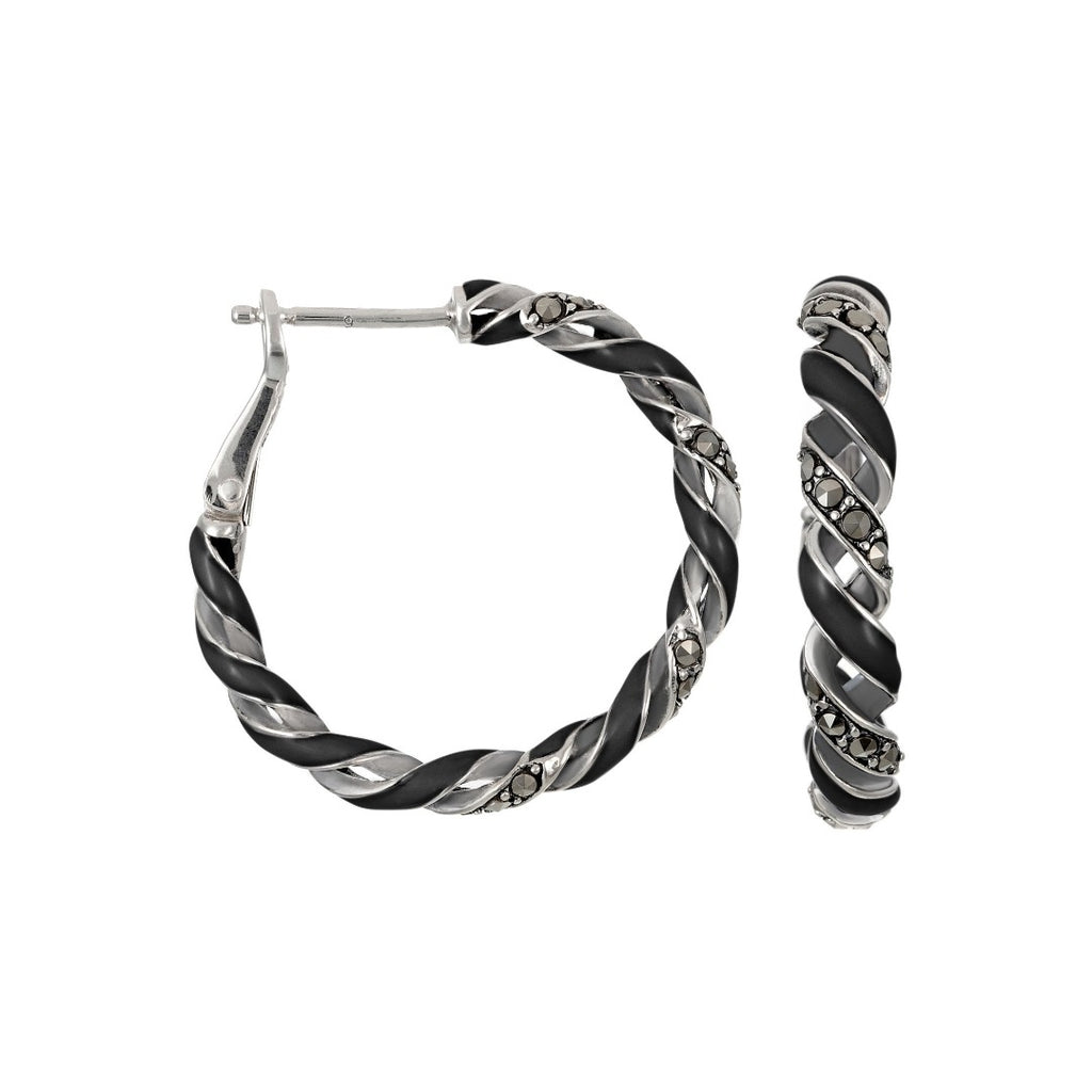 Reef Ribbon Hoop Earrings: The Stardust Pavé Jewelry Collection by Jan Leslie
