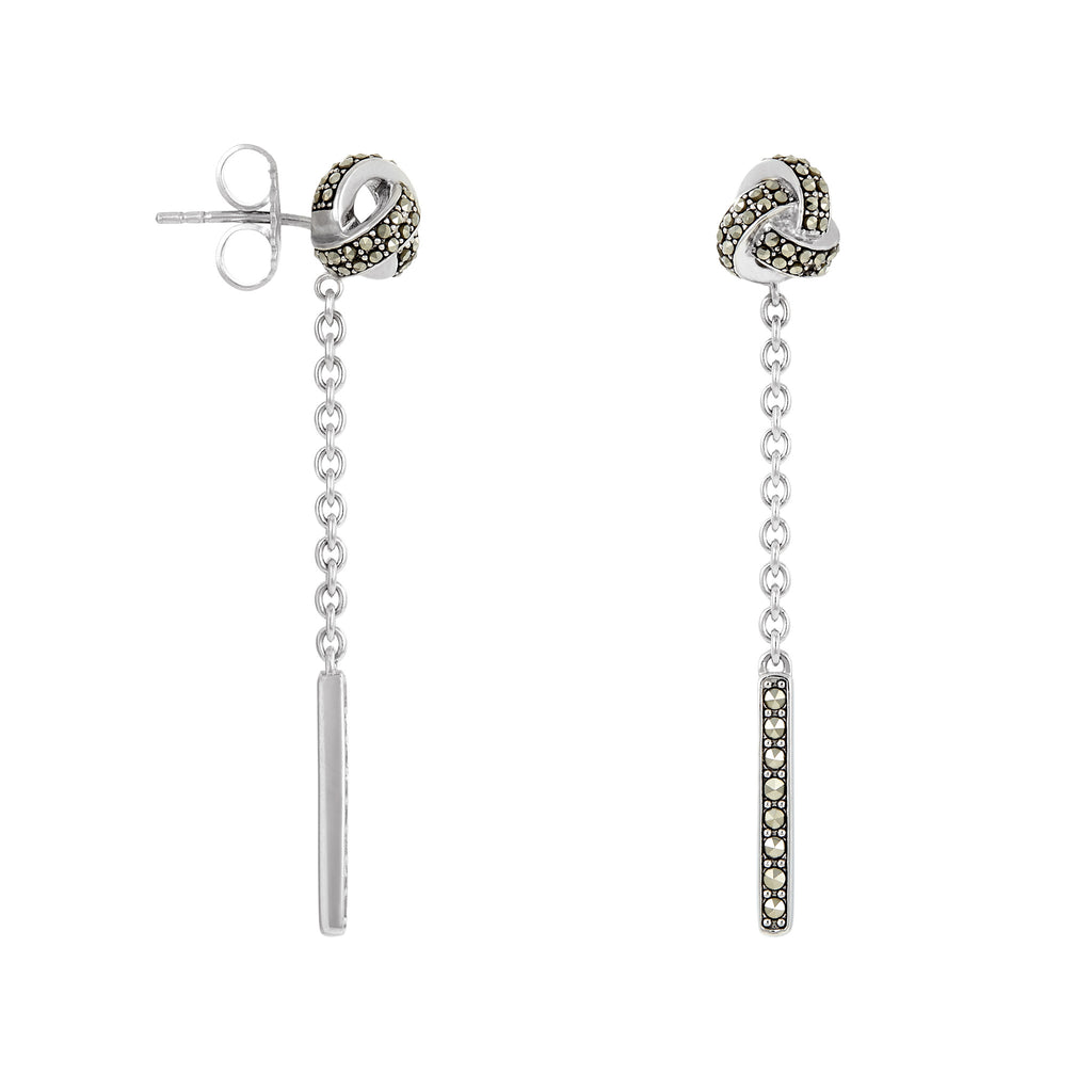 Classic Knot Earrings with Dangle Accent: The Stardust Pavé Jewelry Collection - Jan Leslie Cufflinks and Accessories