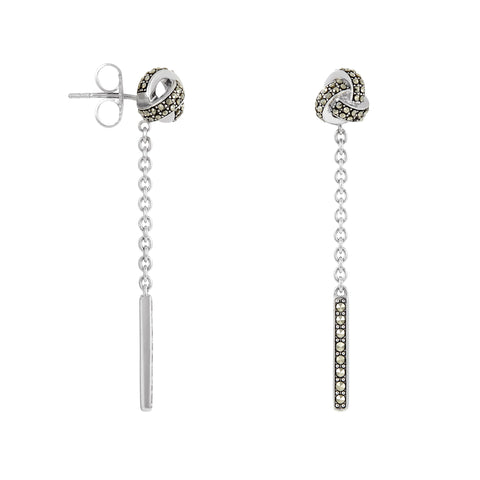 Classic Knot Earrings with Dangle Accent: The Stardust Pavé Jewelry Collection