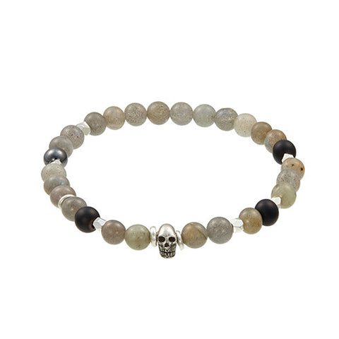 Labradorite Bead Bracelet with Skull Accent