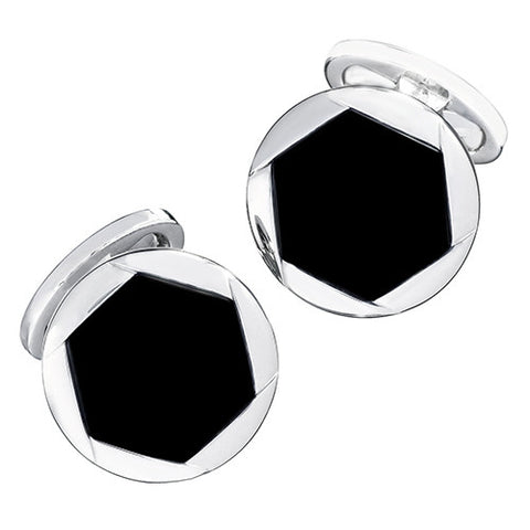 Cylinder Cufflinks with Black Onyx and Marcasite