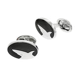 Oval Shark Silhouette Cufflinks by Jan Leslie