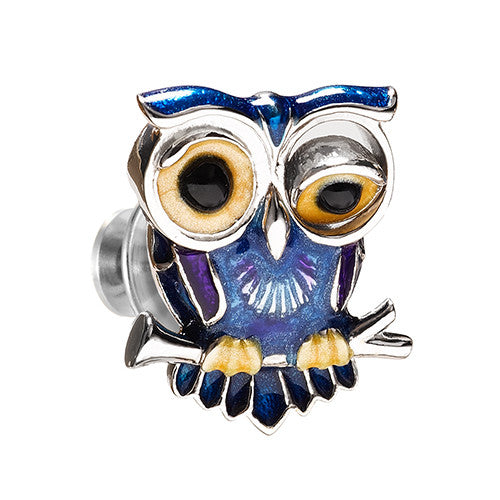 Winking Owl Lapel Pin by Jan Leslie