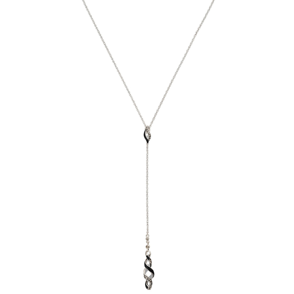 Reef Ribbon Twist Y-Drop Necklace: The Stardust Pavé Jewelry Collection by Jan Leslie