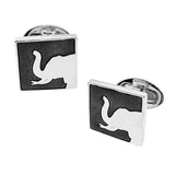 Square Elephant Silhouette Cufflinks by Jan Leslie