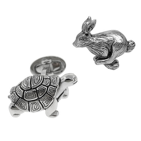 Silver Hippo Head and Butt Cufflinks