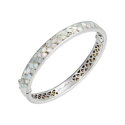 Koi Cascade Thin Bangle Bracelet in White Mother of Pearl: The Stardust Pavé Jewelry Collection by Jan Leslie