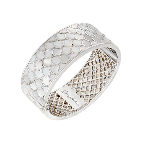 Koi Cascade Wide Bangle Bracelet in White Mother of Pearl: The Stardust Pavé Jewelry Collection