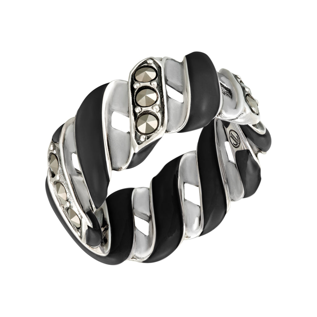 Wide Reef Ribbon Ring: The Stardust Pavé Jewelry Collection by Jan Leslie