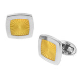 Yellow Square Sunburst Cufflinks by Jan Leslie