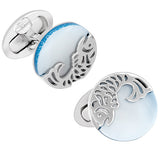 Blue Mother of Pearl Button Cufflinks with Laser Cut Koi Fish by Jan Leslie