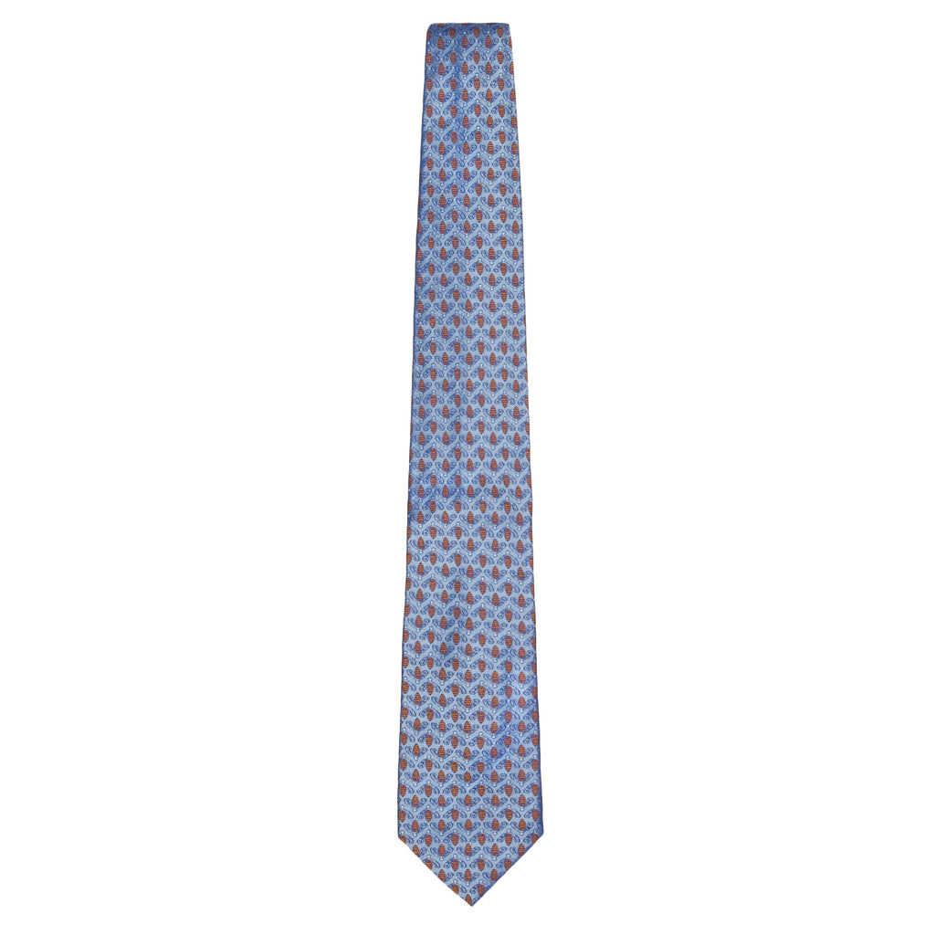 Light Blue Signature Silk Bee Necktie by Jan Leslie
