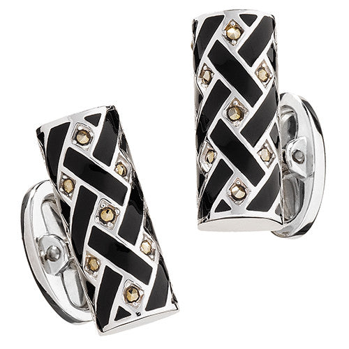 Marcasite and Black Enamel Tube Cufflinks - Jan Leslie Cufflinks and Accessories