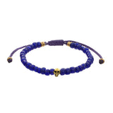 Men's Indonesian Bead Bracelet with Skull Accent in Blue by Jan Leslie