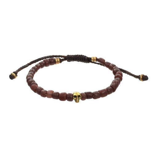Men's Indonesian Bead Bracelet with Skull Accent