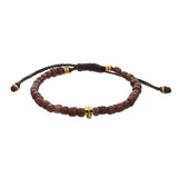 Men's Indonesian Bead Bracelet with Skull Accent in Brown by Jan Leslie