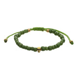 Men's Indonesian Bead Bracelet with Skull Accent in Green by Jan Leslie
